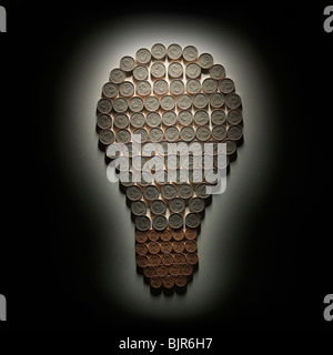 light bulb made out of dimes and pennies - Stock Photo