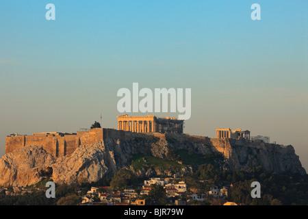 Parthenon on Acropolis of Greece at sunrise. - Stock Photo