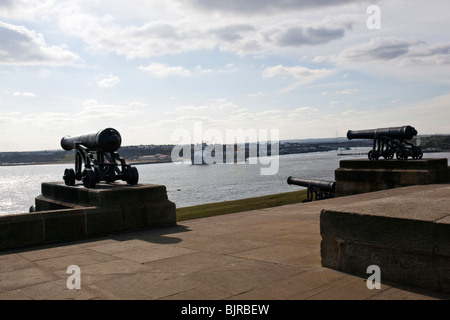View from Collingwoods monument  at Tynemouth, north east  England. Overlooking the river Tyne. 3 of the 4 cannon's - Stock Photo