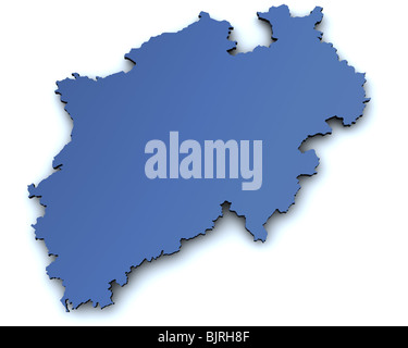 Map of the german state of North Rhine Westphalia rendered in 3d with slight shadow - Stock Photo
