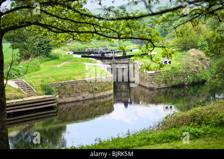 Canal lock on the Huddersfield Canal, West Yorkshire, England, UK - Stock Photo