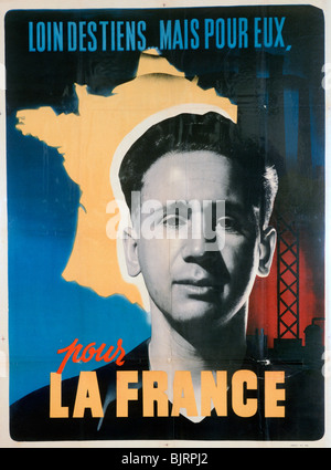 French voluntary work poster, c1942-1944. - Stock Photo