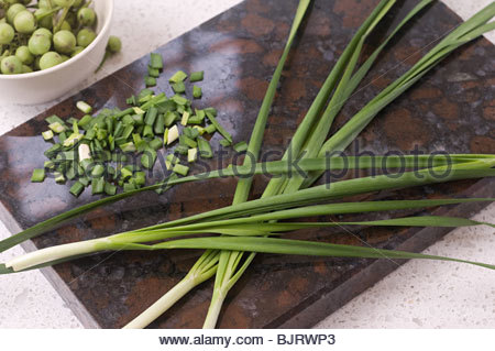 Spring onions on cutting board - Stock Photo