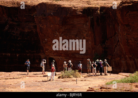 tourist group at Kings Canyon, part of the Watarrka National Park , Northern Territory, Australia - Stock Photo