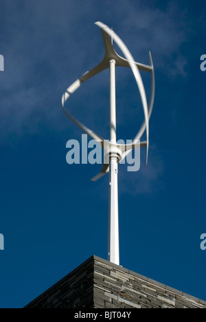 Modern windmill (wind generator) on the roof of the new visitors centre in the Royal Botanic Gardens, Edinburgh. - Stock Photo