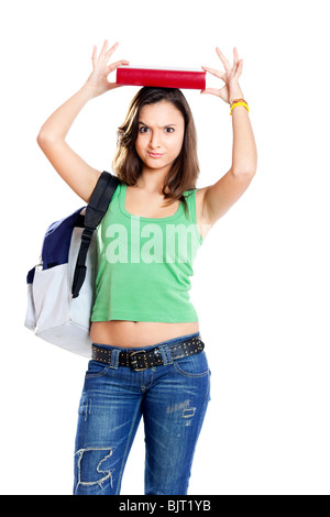 Beautiful young female student worried before an exam, isolated on white - Stock Photo