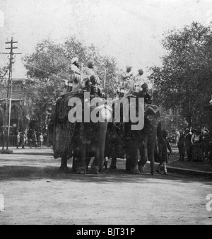 A Punjabi princess riding an elephant in a procession, Delhi, India, 1900s.Artist: H Hands & Son - Stock Photo