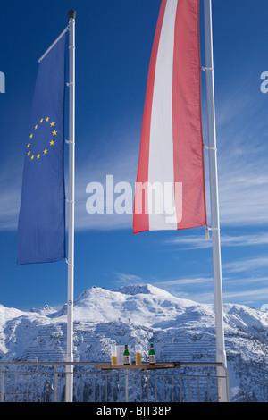 Ice Bar Lech near St Saint Anton am Arlberg in winter snow Austrian Alps Austria Europe - Stock Photo