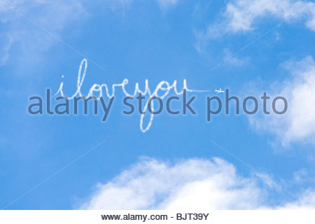 I love you written in vapour - Stock Photo