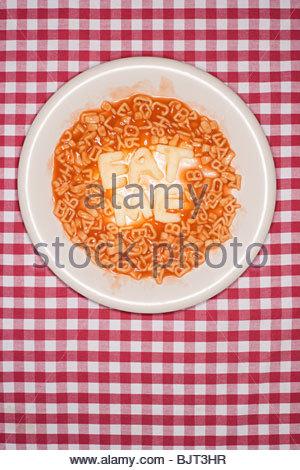 Words written in spaghetti - Stock Photo