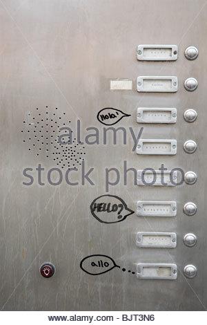 Graffiti near doorbells - Stock Photo