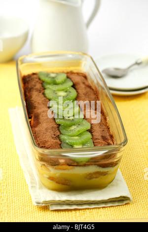 Tiramisu cake with kiwifruits. Step by step: PA4837-PA483P-PA484K-PA485F - Stock Photo