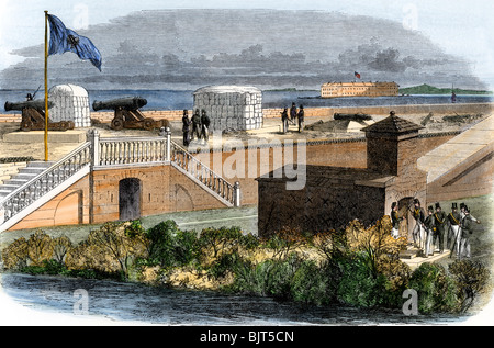 Secession flag flying over Fort Moultrie, with artillery aimed at Fort Sumter, South Carolina, 1861. Hand-colored - Stock Photo