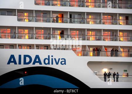 Tourists on decks of the passenger liner Aida Diva, Kiel, Germany - Stock Photo