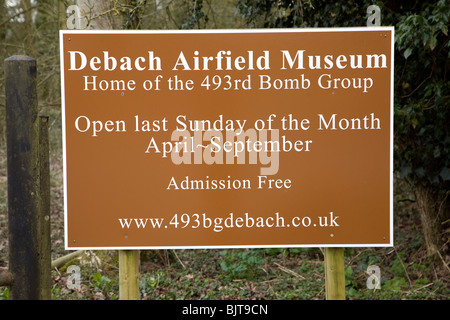 Sign Debach Airfield Museum, Home of the 493rd Bomb Group USAF, Debach airfield, Suffolk - Stock Photo