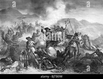 Vintage black and white lithograph print c1878 entitled 'General Custer's Death Struggle - The Battle of the Little - Stock Photo