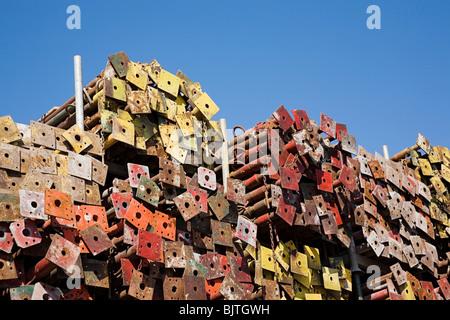 Stack of metal poles - Stock Photo