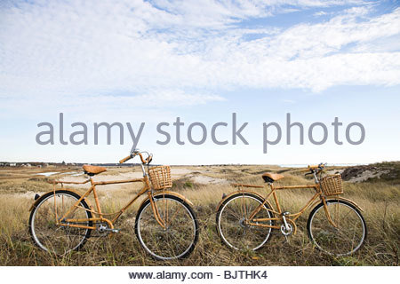 Bicycles near sand dunes - Stock Photo