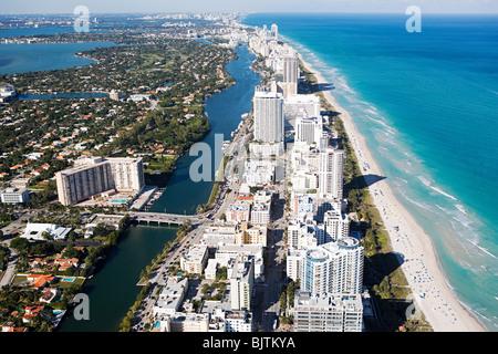 Aerial view of miami beach - Stock Photo