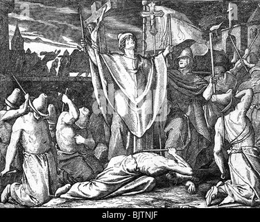 medicine, disease, plague, medieval flagellants praying for protection against the plague, wood engraving by W. - Stock Photo