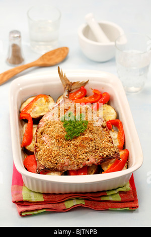 Baked mackerel with aubergines. Step by step: PA48FJ-PA48HD-PA48JT-PA48KC - Stock Photo