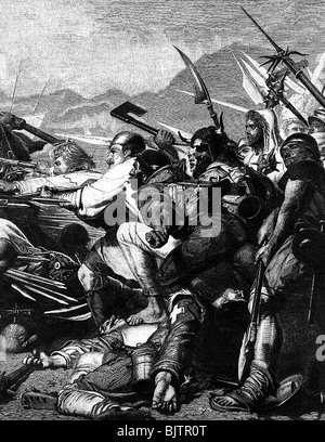 Sempach War 1385 - 1386, Battle of Sempach, 9.7.1386, death of Arnold Winkelried, wood engraving after painting - Stock Photo