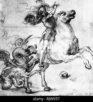 Saint George, + circa 303, martyr and holy helper in need, full length, fight with the dragon, drawing by Raffaello - Stock Photo