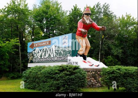 Big Powderhorn Mountain Ski Resort Area Upper Peninsula Michigan - Stock Photo