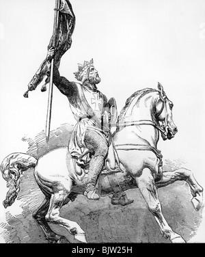 Godfrey of Bouillon, circa 1060 - 18.7.1100, King of Jerusalem 1099-1100, full length, on horseback, wood engraving - Stock Photo