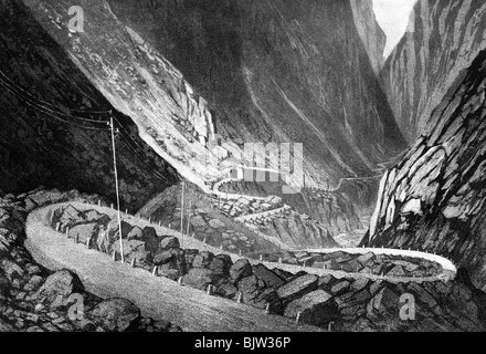 geography / travel, Switzerland, St. Gotthard Pass, old street in the Schoellenen, engraving by C. Huber after H. - Stock Photo