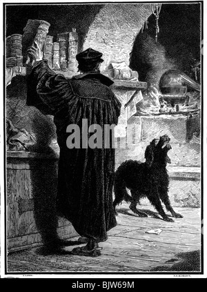 literature, 'Faust I', 3rd scene, 'Study', scene with Faust and poodle, woodcut by W. Hecht, circa 1870, Additional - Stock Photo