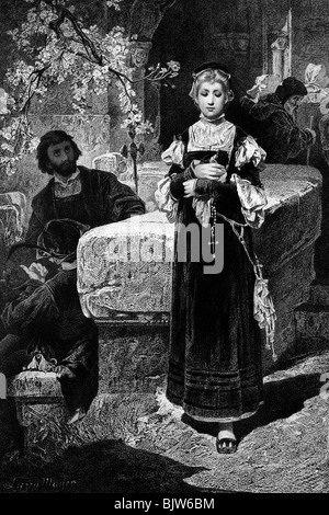 literature, 'Faust I', 7th scene 'On the street', church going of Gretchen, wood engraving by Alexander Liezen Mayer, - Stock Photo