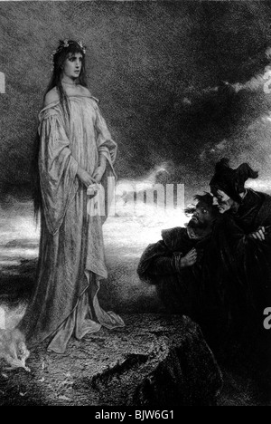 literature, 'Faust I', 22th scene 'Walpurgisnight', appearance,  wood engraving by Liezen Mayer, circa 1870, Additional - Stock Photo