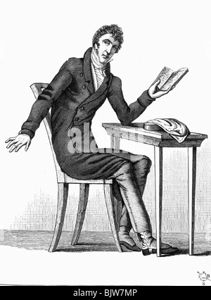 Werner, Zacharias, 18.11.1768 - 17.1.1823, German dramatist, full length, sitting at table, wood engraving, 19th - Stock Photo