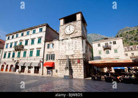 Squares of Arms, the main town square with the clock tower erected in 1602. Kotor, Montenegro. - Stock Photo