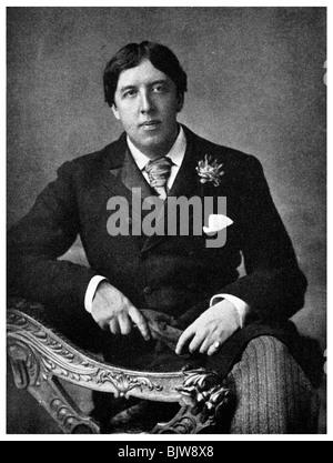 Oscar Wilde, Irish-born playwright and wit, c1891 (1956). Artist: Unknown - Stock Photo