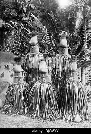 Masks possessing magical qualities, Bismarck Archipelago, Papua New Guinea, 1920. - Stock Photo