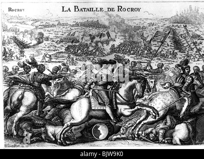 events, Thirty Years War 1618 - 1648, French Intervention 1635 - 1648, Battle of Rocroi, 19.5.1643, contemporary - Stock Photo
