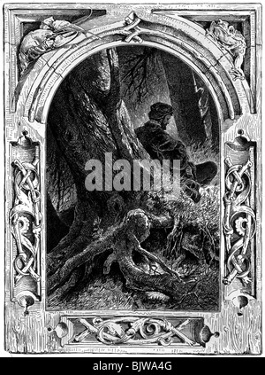 literature, 'Faust I', 21th scene 'Walpurgisnight', scene with Faust, woodcut by W. Hecht, circa 1870, Additional - Stock Photo