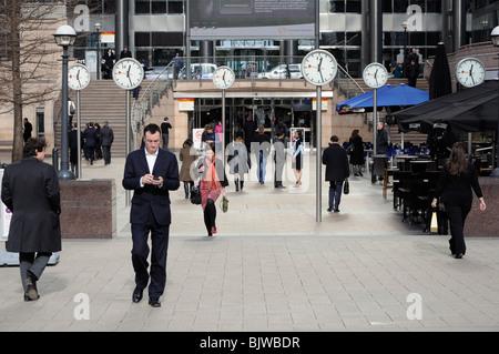 Canada Square, Canary Wharf, East London, England, UK. - Stock Photo