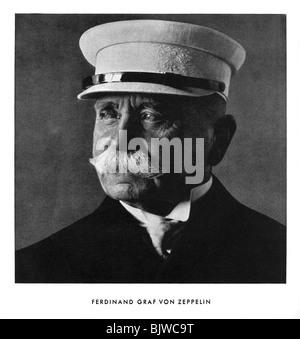 Portrait of Ferdinand, Graf von Zeppelin, early 20th century (1933). Artist: Unknown - Stock Photo