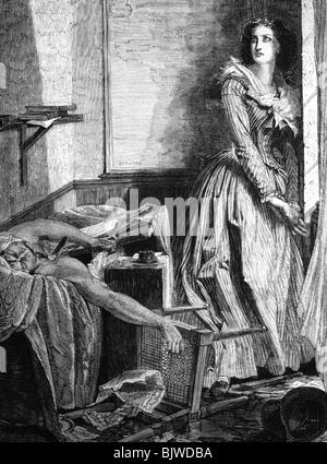 Corday d'Armont, Marie Anne Charlotte, 27.7.1768 - 17.7.1793, French assassin, scene, killing Jean Paul Marat, wood - Stock Photo