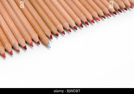 Line of Red Colouring Pencils with One Blue Pencil Sticking Out, on White Background - Stock Photo