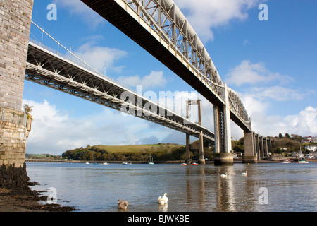 The road and rail Bridges over the River Tamar at Saltash Cornwall England - Stock Photo