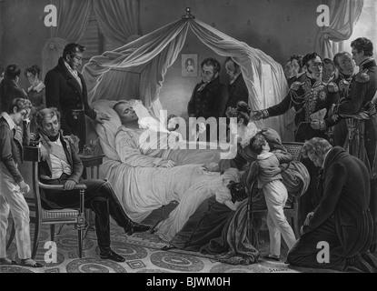 Vintage aquatint print depicting the death of Napoleon Bonaparte on May 5 1821. - Stock Photo