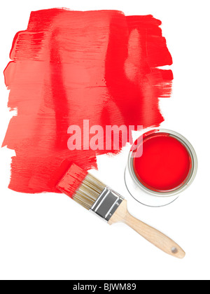 Red paint copyspace and a paintbrush with a can of paint on white background - Stock Photo