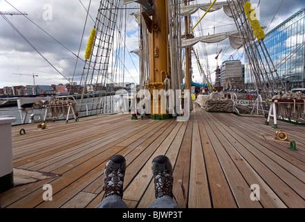 Mexico Tall Ship Cuauhtemoc , moored at Dublin Docks Ireland - Stock Photo
