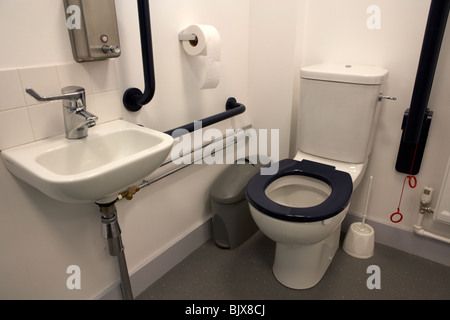 modern disabled toilet in the uk - Stock Photo