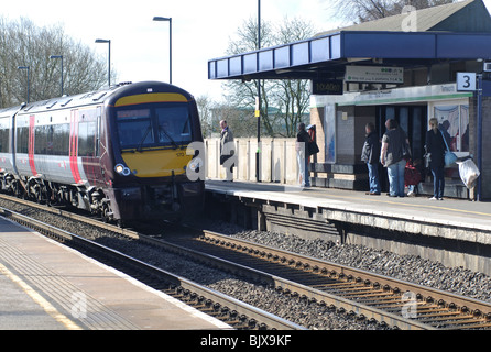 Arriva Cross Country train arriving at Tamworth station, Staffordshire, England, UK - Stock Photo