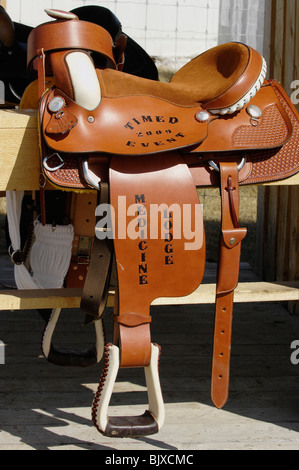 This close up image of a western leather saddle - Stock Photo